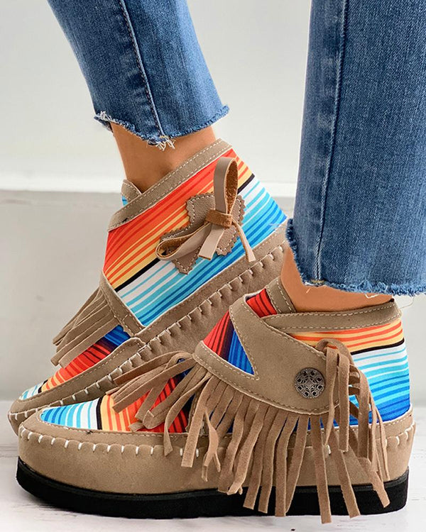 Striped Colorblock Tassel Design Shoes