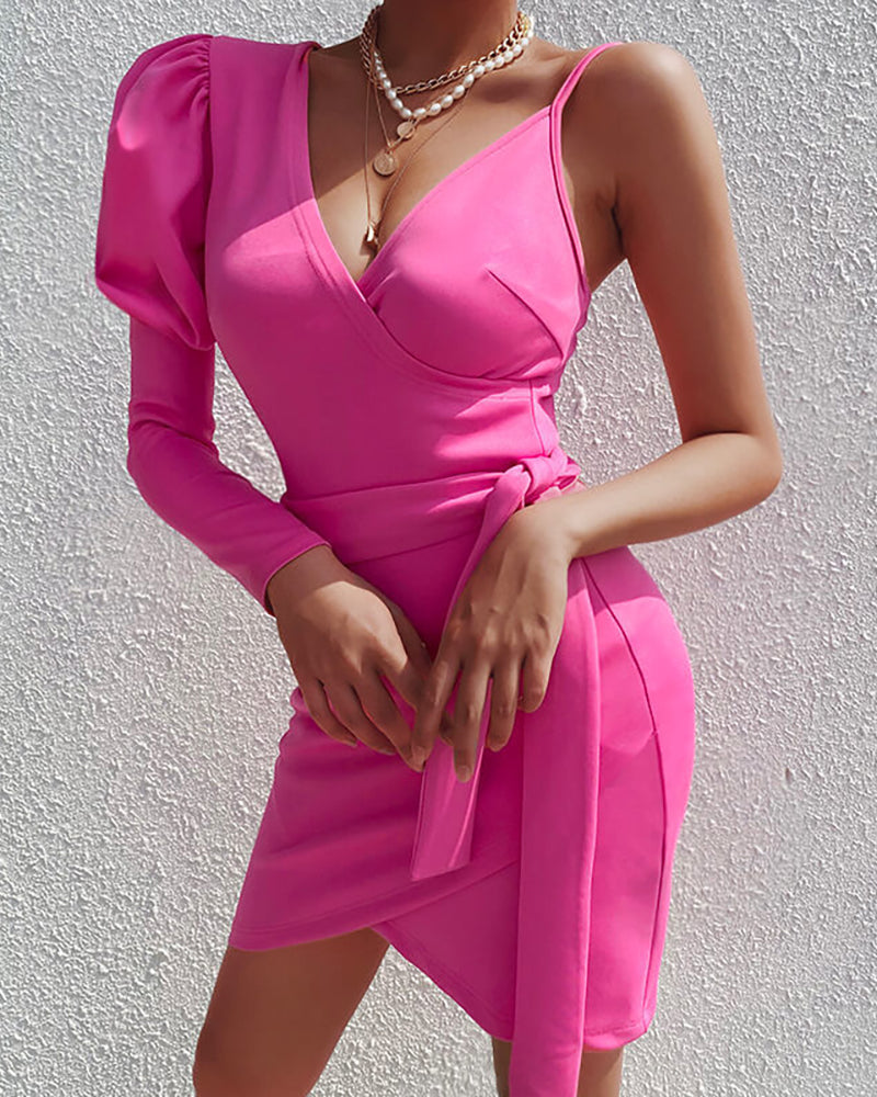 Solid Puff Sleeve Spaghetti Strap Ruched Bodycon Dress