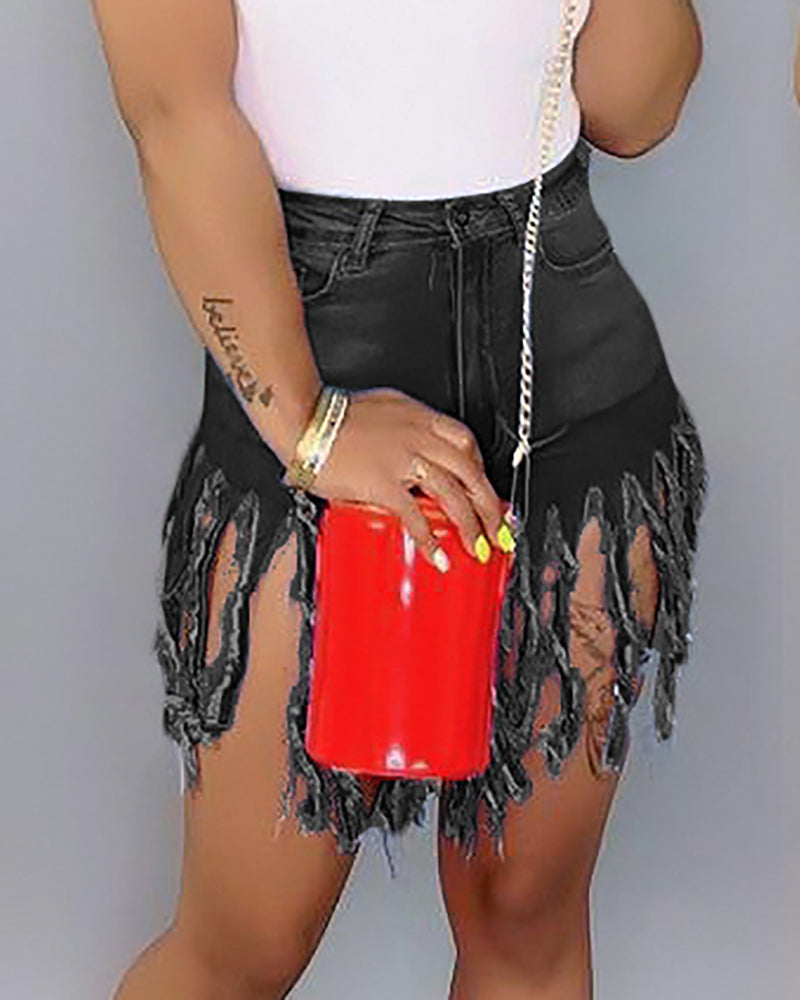 Tassel Casual Straight Denim Shorts