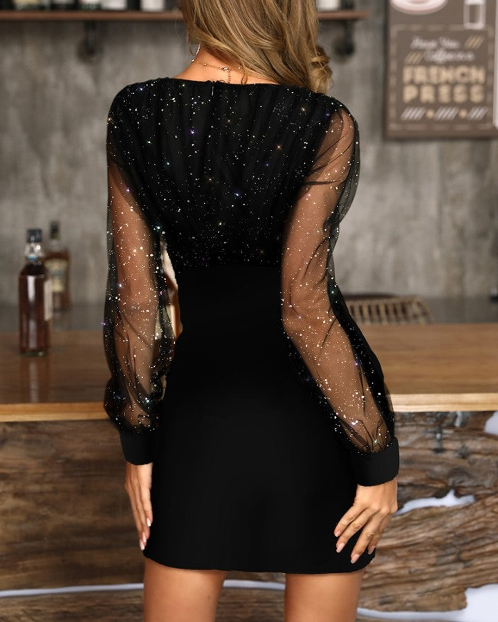 Glitter Semi Sheer Mesh Party Dress