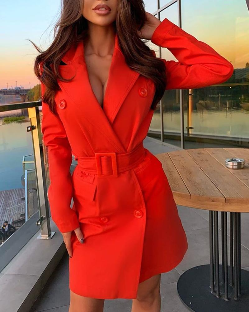 Solid Buttoned Long Sleeve Blazer Dress