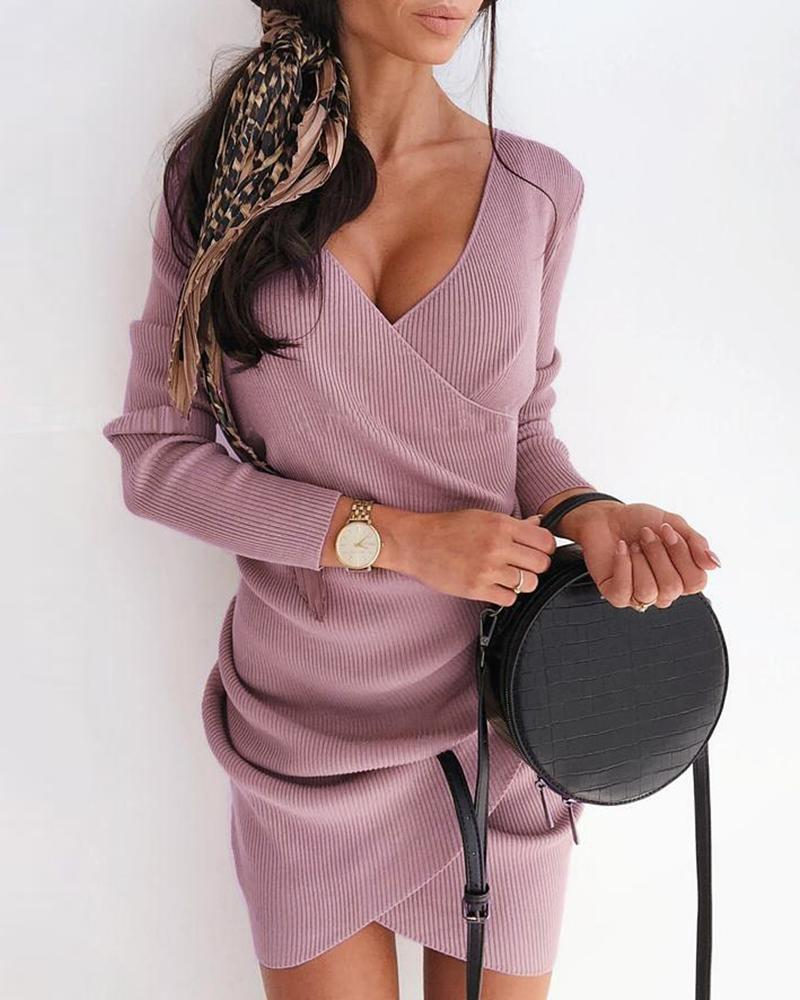 Solid V-Neck Surplice Wrap Ruched Ribbed Bodycon Dress