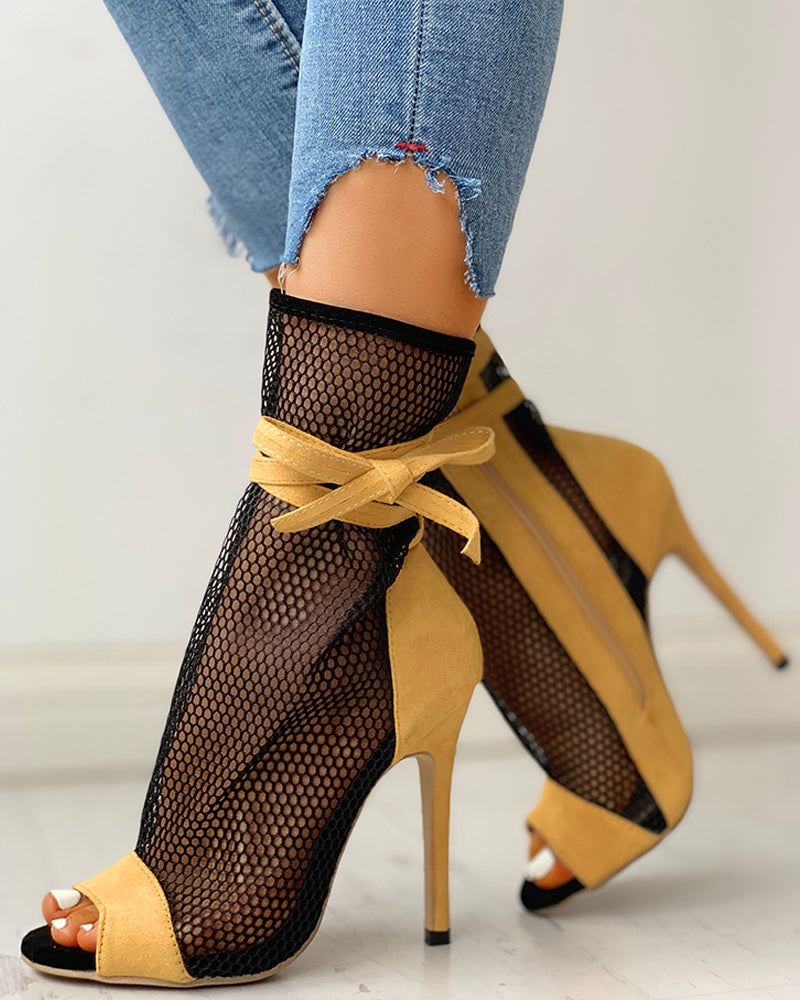 Fishing Net Zipper Bandage Thin Heeled Boots