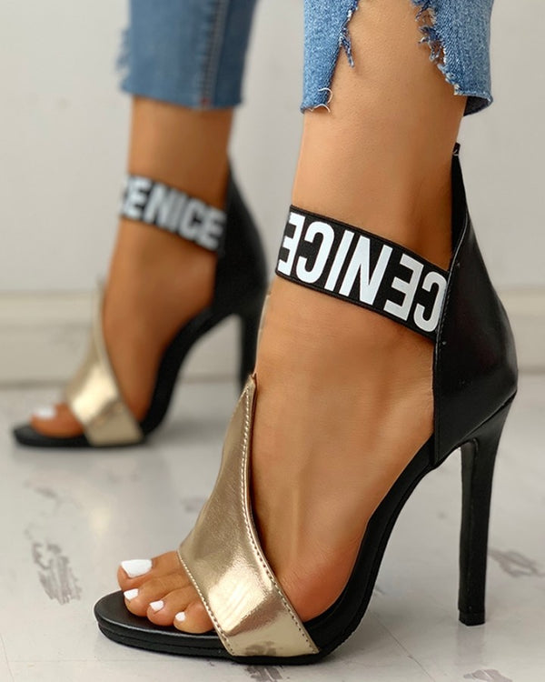 Letter Print Thin Heeled Sandals