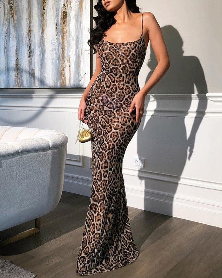 Leopard Print  Minimal Shoulder Straps Evening Dress