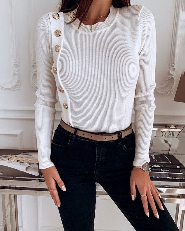 Solid Metal Buttoned Detail Casual Sweater