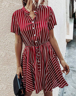 Print Button Design Shirt Dress