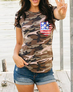 Stylish Sequins Flag Design Camouflage Casual T-shirt