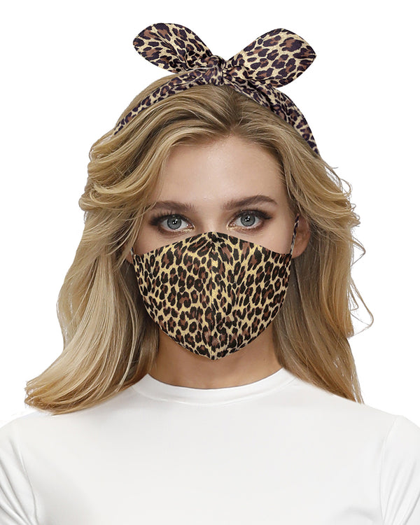 Cheetah Print Hairband Breathable Face Mask
