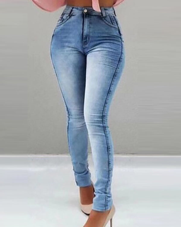Pocket Design Plain Skinny Jeans