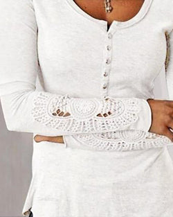 Round Neck Lace Insert Buttoned Blouse