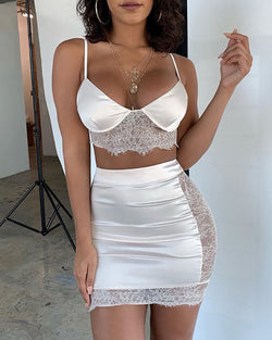 Spaghetti Strap Eyelash Lace Insert Crop Tank & Skirt Sets