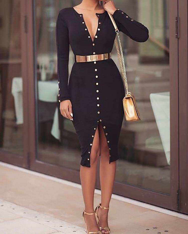Stylish Snap Button Design Midi Bodycon Dress