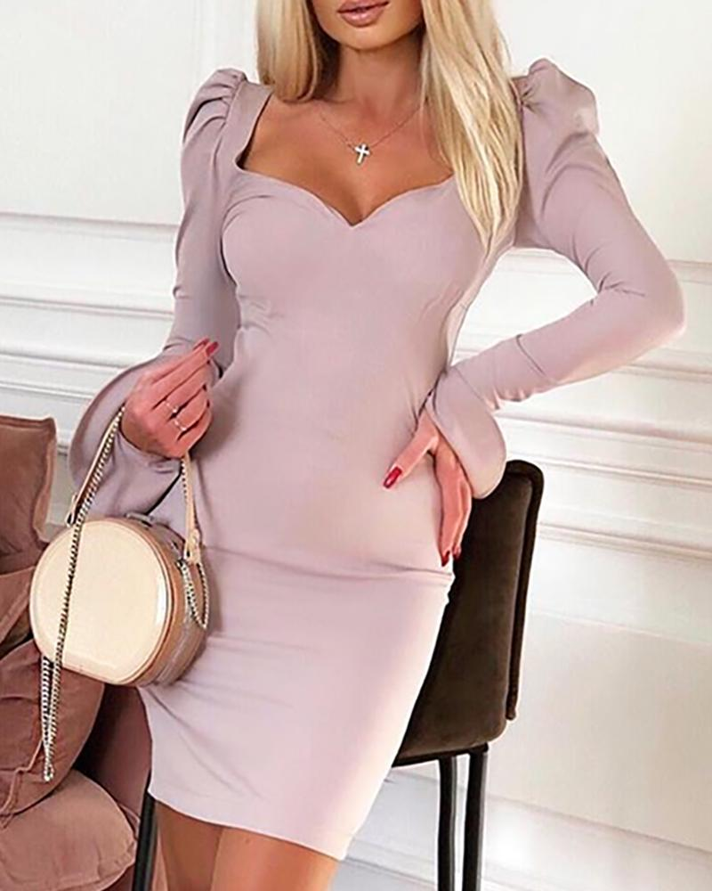 Solid Puff Sleeve Bell Cuff Bodycon Dress