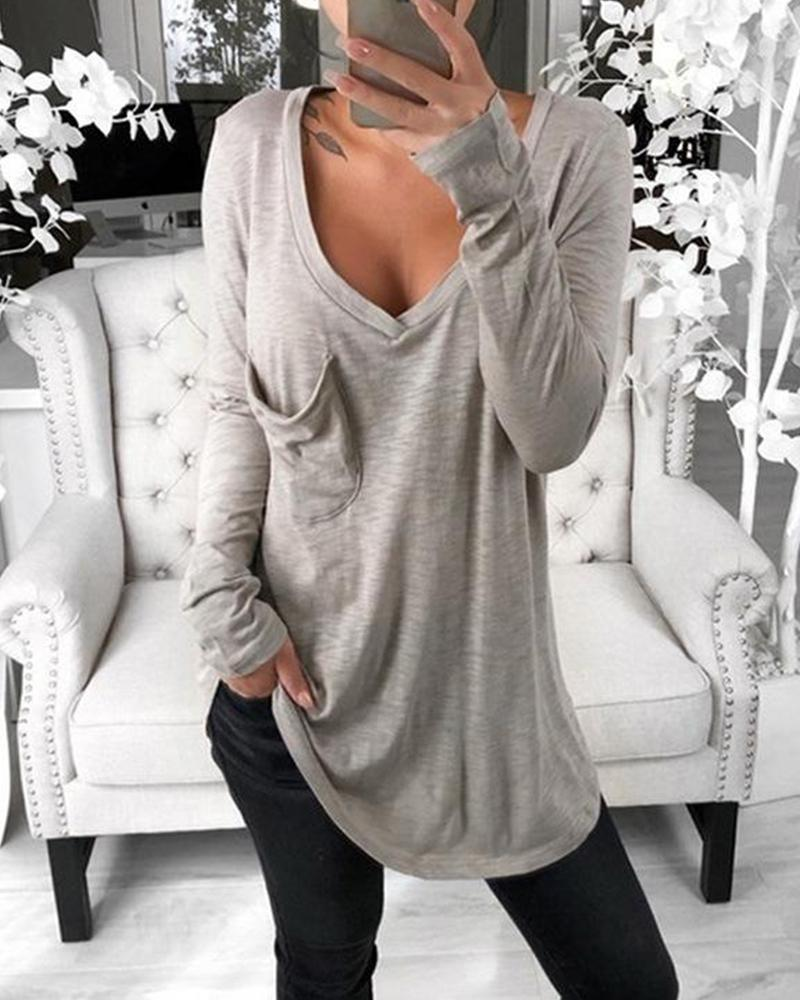 Long Sleeve Pocket Plunge Top