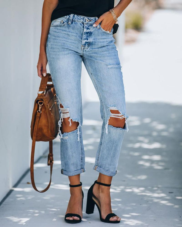 Cutout Ripped High Waist Casual Jeans