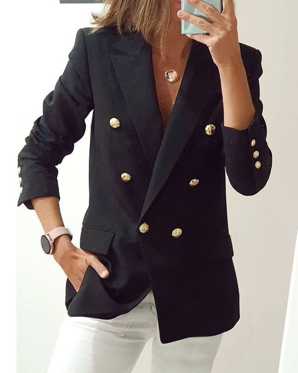 Solid Color Long Sleeve Suit Coat