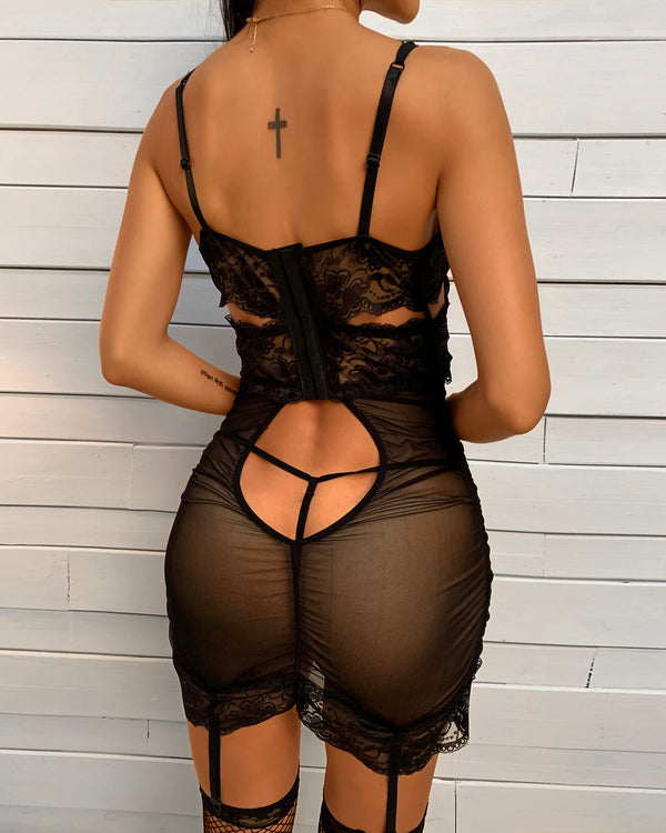 Lace Sheer Mesh Ruched Babydoll