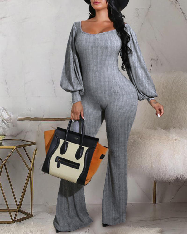 Plain Puffed Sleeve Ribbed Bootcut Jumpsuit