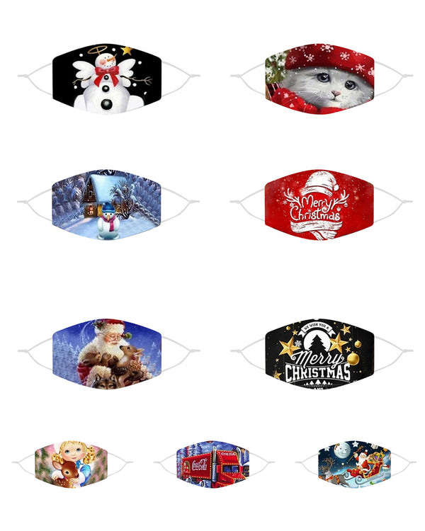 5PCS/Set Randomly Dispatched Christmas Mixed Print Breathable Face Mask