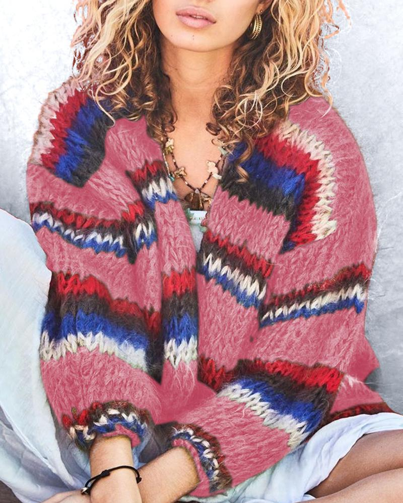 Multicolor Long Sleeve  Cardigan