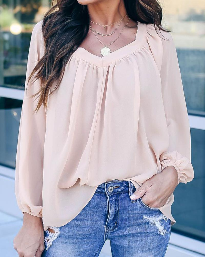 V Neck Back Tie Blouse