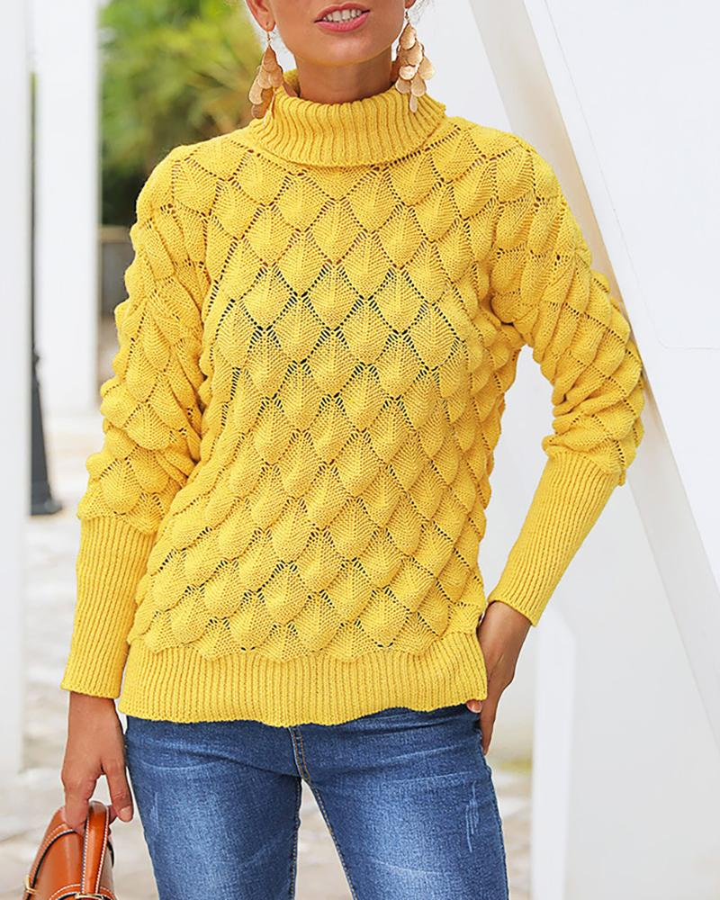 Solid High Neck Long Sleeve Sweater