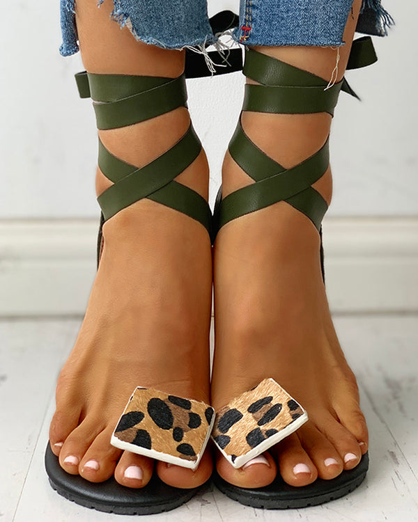 Leopard Print Toe Ring Lace-Up Flat Sandals