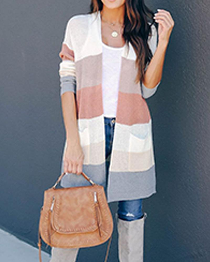 Colorblocks Open Front Pocketed Cardigan