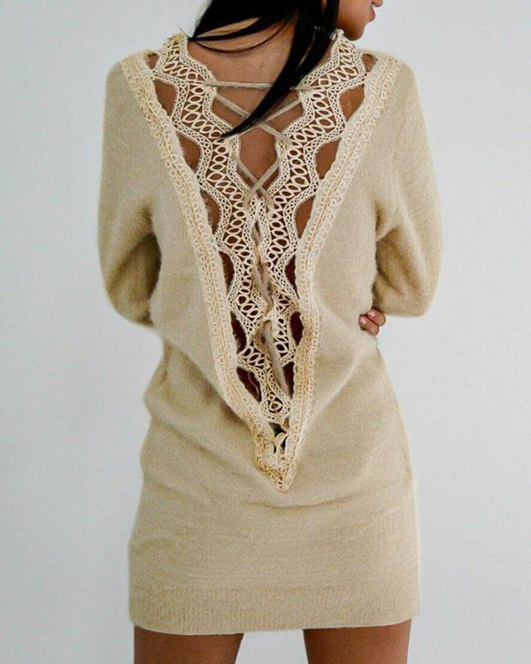 Crochet Lace Hollow-out Back Sweat Dress