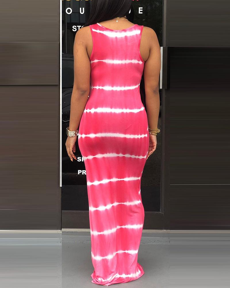 Tie Dye Print Thick Strap Casual Maxi Dress