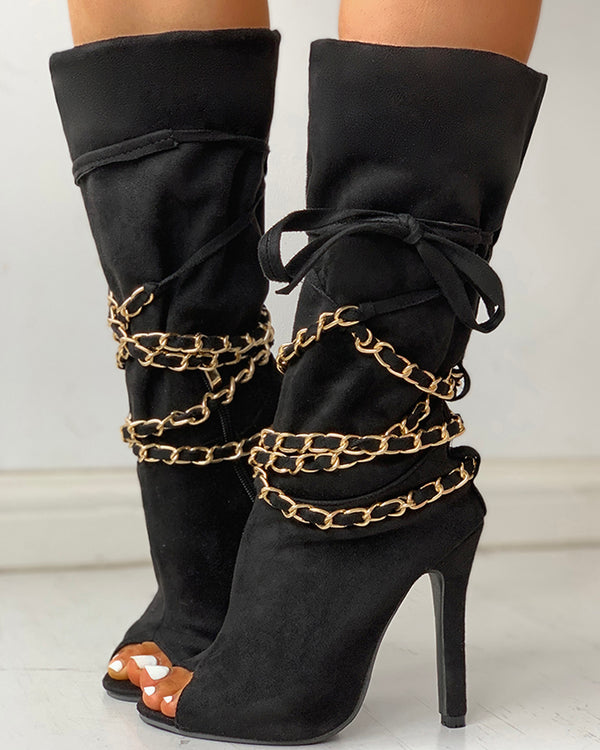 Chain Design Peep Toe Thin Heeled Boots