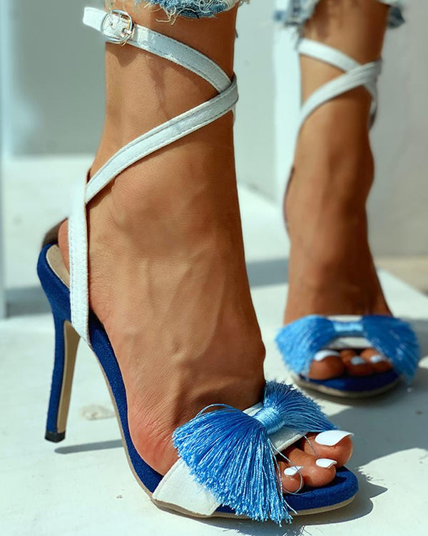 Tassel Thin Heeled Sandals