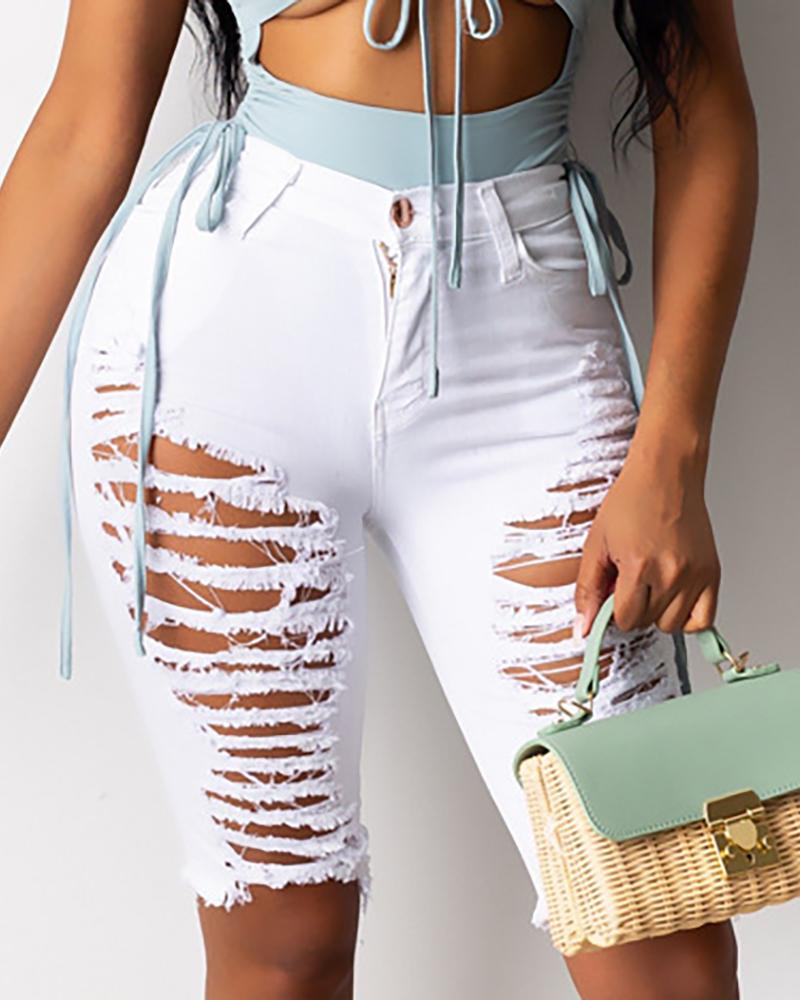 Ripped Ladder Cutout Fringe Hem Denim Shorts