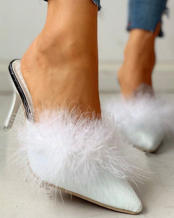 Fluffy Pointed Toe Thin Heeled Slipper