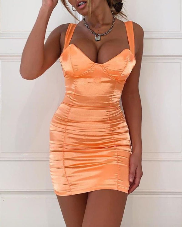 Sleeveless Bodycon Ruched Mini Dress