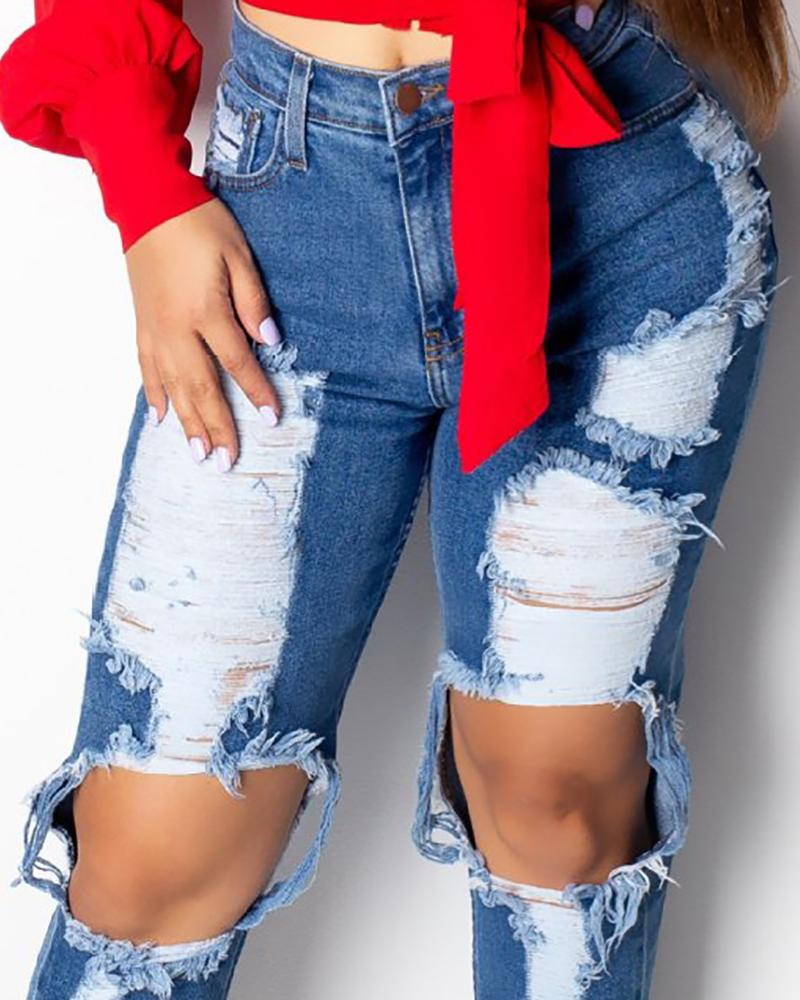 Ripped Cutout Pocket Denim Jeans