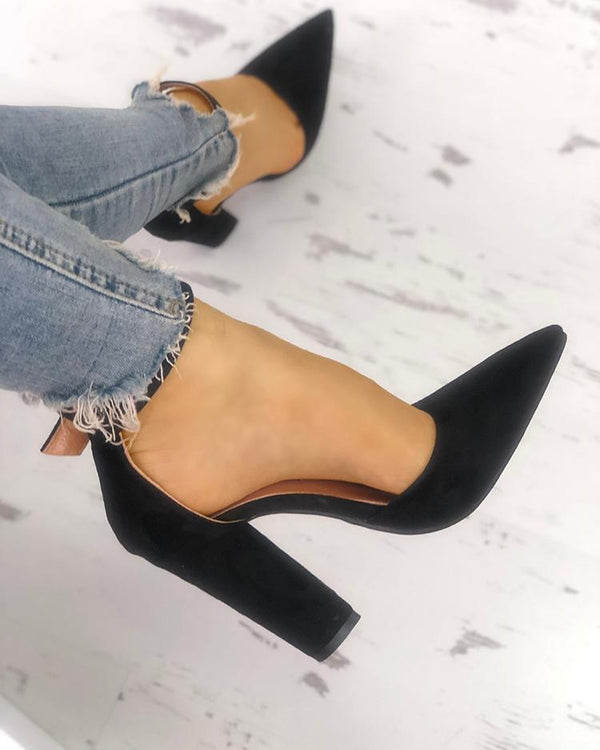 Solid Suede Pointed Toe Buckled Chunky Heels