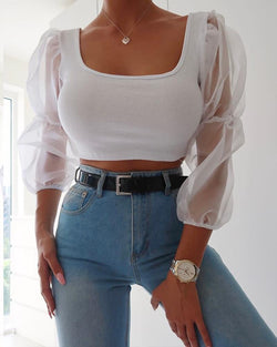 Sheer Mesh Sleeve Crop Top