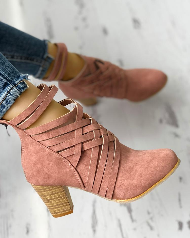 Crisscross Caged Ankle Boots