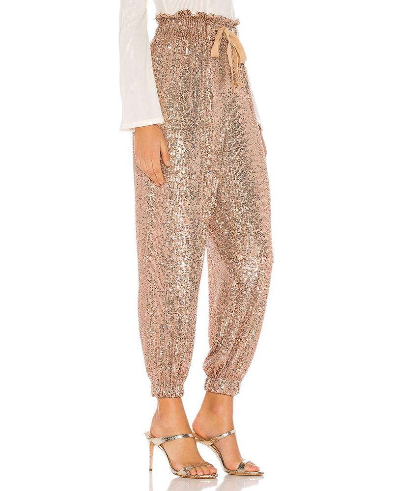 Glitter Drawstring Design Sequins Cuffed Pants