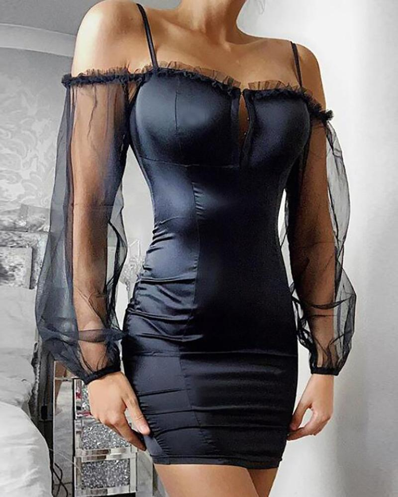 Cold Shoulder Sheer Mesh Sleeve Bodycon Dress