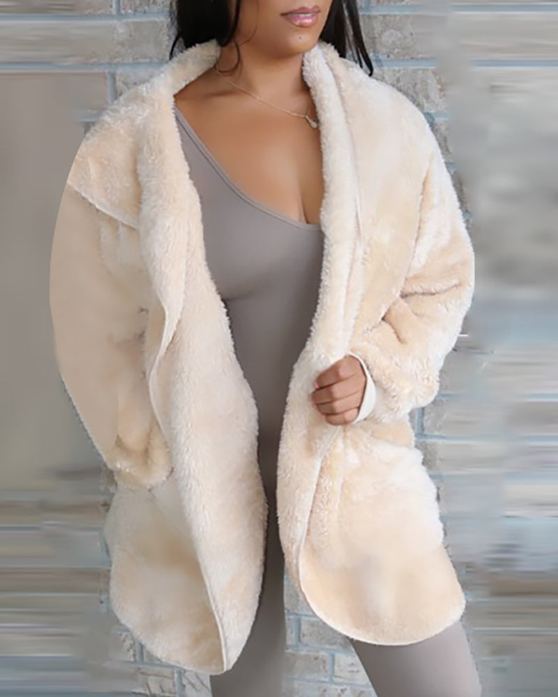Solid Fluffy Zipped Hooded Coat
