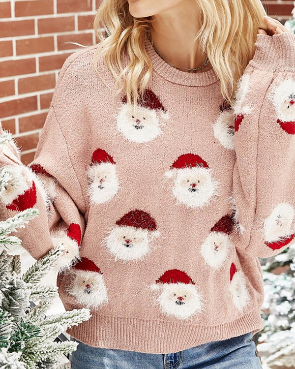 Christmas Santa Claus Print Fluffy Knit Sweater