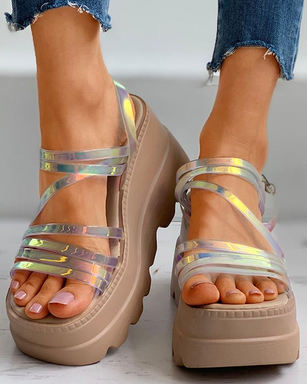 Open Toe Laser Straps Wedge Sandals