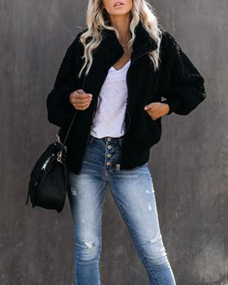 Solid Zip Front Faux Shearling Coat
