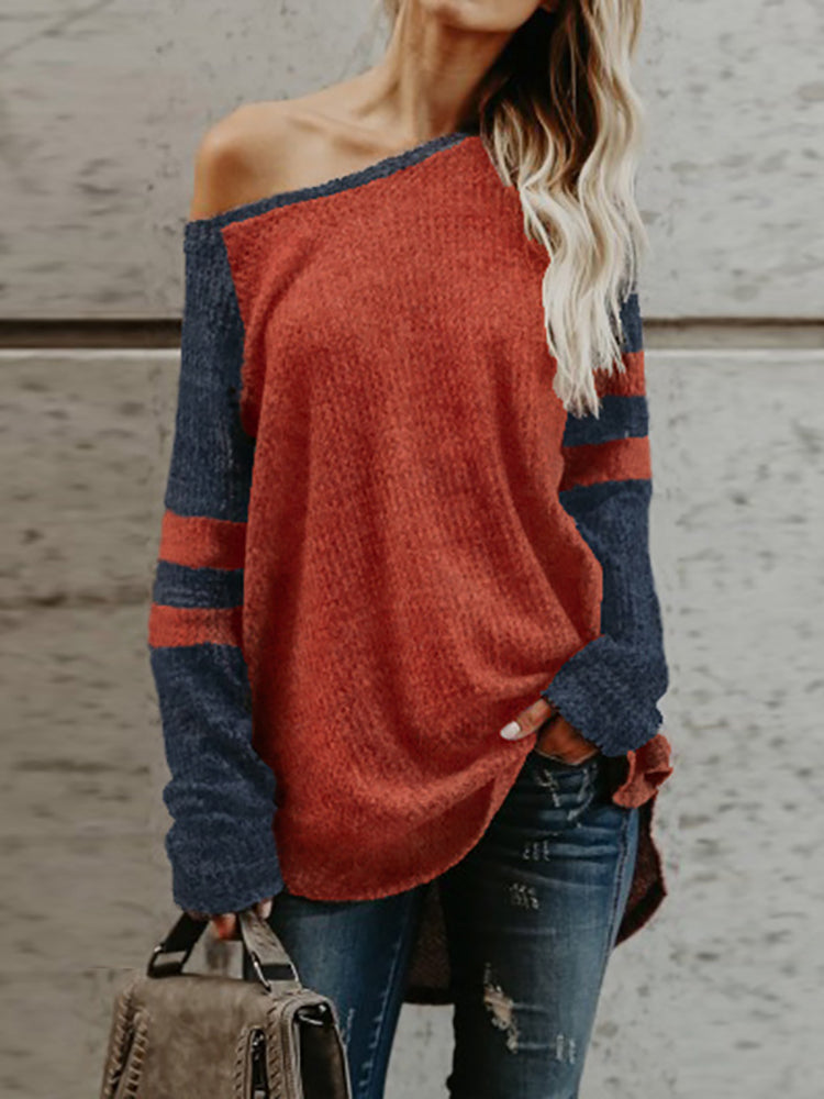 Contrast Color One Shoulder Stripes Casual Top