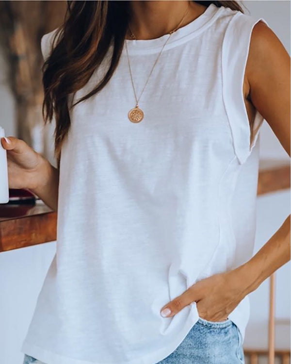 Round Neck Sleeveless Casual Top