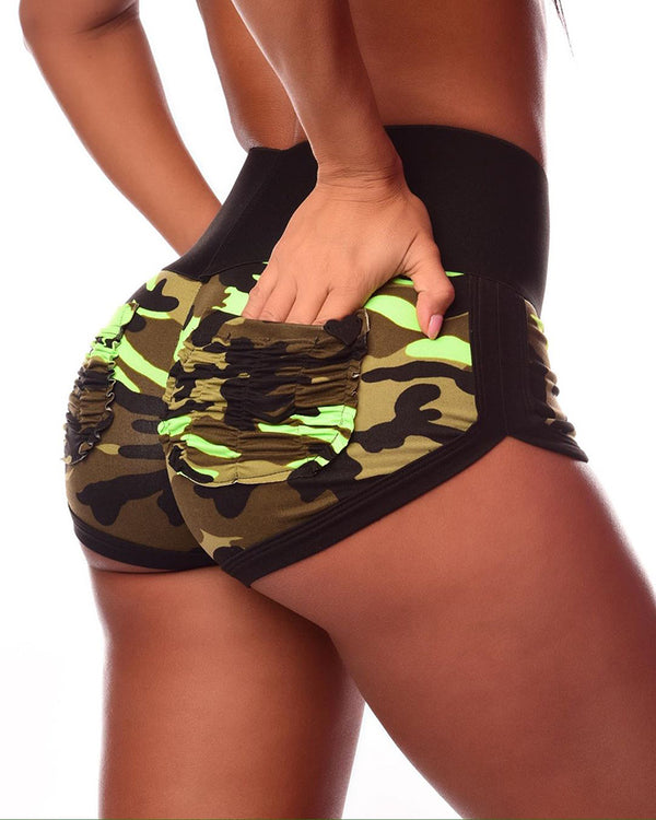 Camouflage Ruched Pockets Wide Waistband Shorts