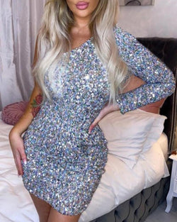 One Shoulder Sequined Bodycon Mini Dress